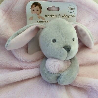NWT Security BLANKETS & BEYOND Gray BUNNY Rabbit NUNU Pink LOVIE Baby Girl Lovey