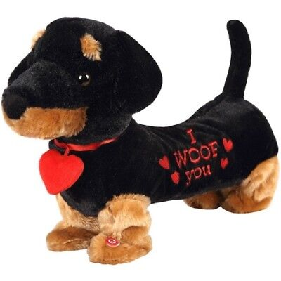 Musical Valentine Dancing Black & Tan Dachshund Dog NWT