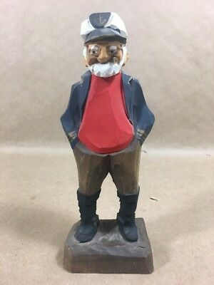 Tom Hannah Wood Carved and Painted Sailor Captain Figure