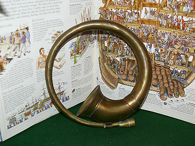"Vintage Solid Brass Round Hunting Horn Decorative 8"" Bugle Christmas Ornament"