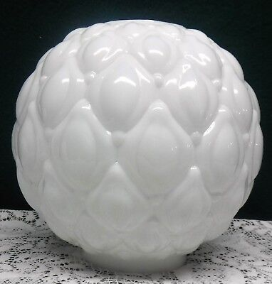 """Vintage Antique Milk Glass Artichoke Quilted GWTW Lamp Light Shade Globe 4 1/8"""""""