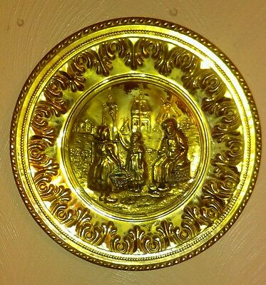 """Vintage 12"""" Hammered Brass Wall Plate  England"""