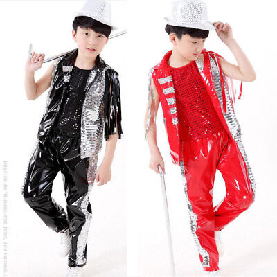 Fashion Jazz Sequined Boys Modern Dancewear Outfits Kids Hip Hop Dance Costumes