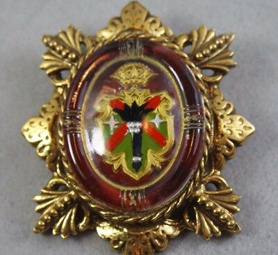 Vintage Antique Reverse Paint Coat Arms Large Pin Brooch, / Brass Color, Glass