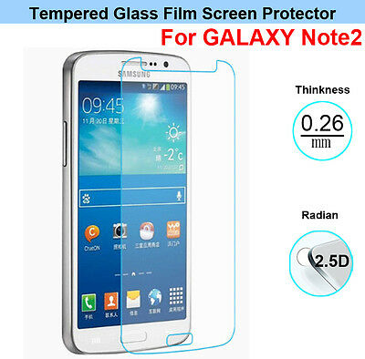 2 X Premium Tempered Glass Screen Protector For  Samsung Galaxy Note 2 II N7100