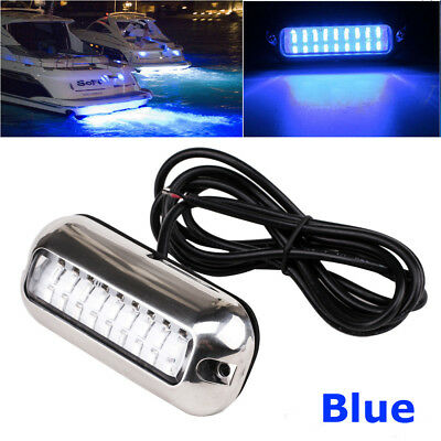 Blue 12V 50W Under water Submersible Marine Boat LED Stern Light Stainless Steel