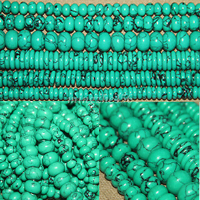 Natural Rondelle Turquoise Gemstone Loose Beads Spacer Charm Jewelry DIY Finding