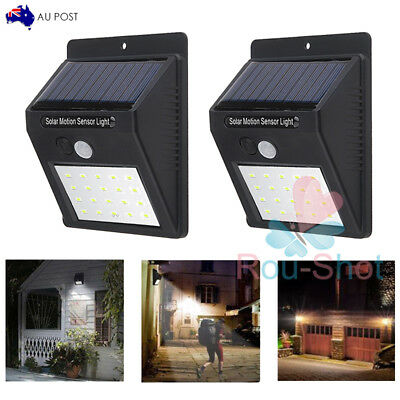 1~2 Solar Power PIR Motion Sensor 20 LED Security Wall Light Outdoor Garden Lamp