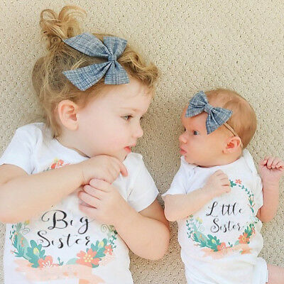 Cute Baby Kid Girls Big Little Sister Flowers T-Shirt Tops Blouse Newborn Romper