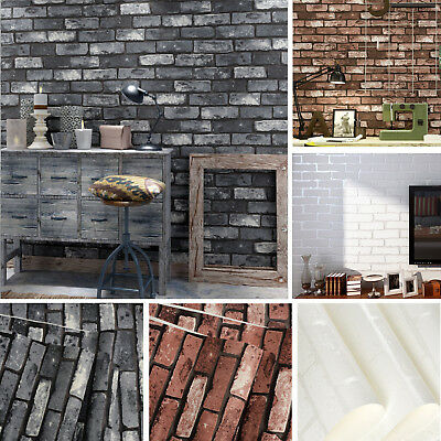10M Rustic 3D Slate Brick Stone Effect Vintage Vinyl Home Wallpaper Roll Decal
