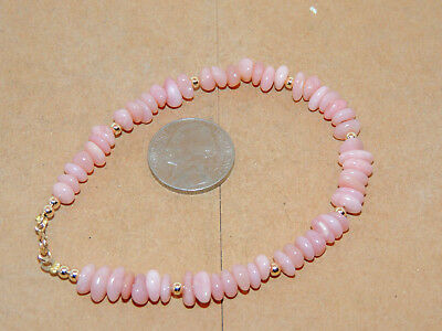 "14K Gold and Pink Andean Opal Bracelet 8 3/8"" long (13219)"