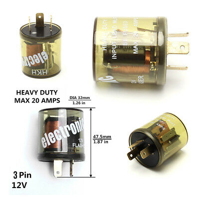 1X 3Pin 12V Heavy Duty LED Compatible Electronic Fixed Flasher Turn Signal Relay