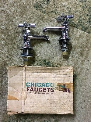Vintage NOS MINT Chrome Chicago Faucet Co. Set Hot and Cold in Original Box 1965