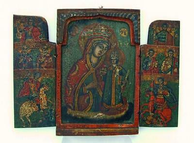 Antique Greek Orthodox Icon Triptych Mother Of God Theotokos 18 Century Greece