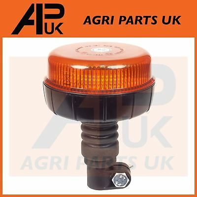 LED Flashing Amber Beacon Flexible Flexi DIN Pole Stem Tractor Light Flat top