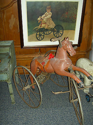 French antique c1890s, large wood & iron, child's horse tricycle w/spoke wheels