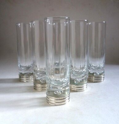 Italian Vintage Modernist Cut Tall Tumblers x 6. Solid Silver Based Glasses '70s
