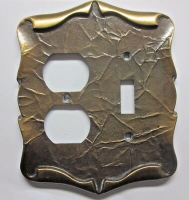 Vintage Amerock Carriage House Dark Brass 2 Gang Outlet Switch Wall Plate Combo