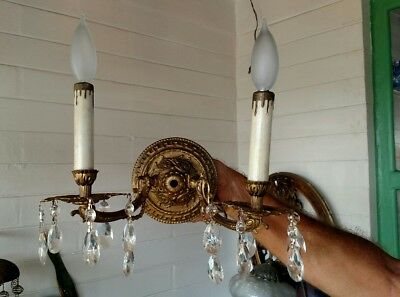Vintage Spanish 2 Arm Brass  Wall Lamp Sconce  With Crystals