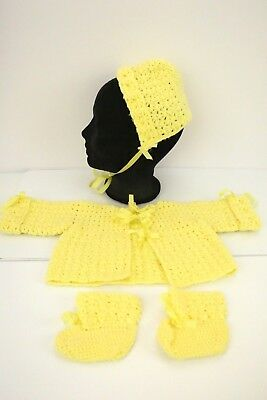 Vtg Crochet Baby/Doll Hat Cap Cardigan Booties SET Yellow 60-70s Ribbon Boy Girl