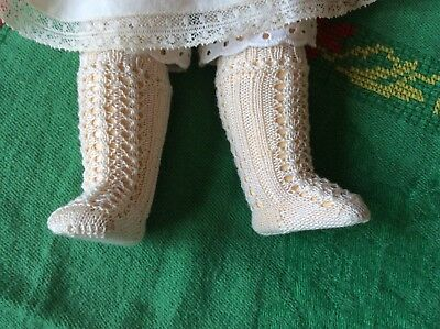 Antique pattern socks  ivory color for  antique  French German doll