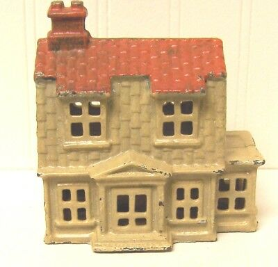 Vintage Cast Iron Colonial House Still Bank Red Roof
