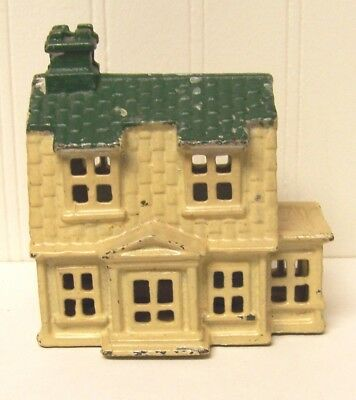Vintage Cast Iron Colonial House Still Bank Green Roof