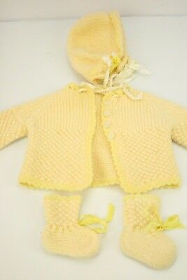 Vtg Crochet Baby/Doll Hat Cap Cardigan Booties SET Pastel Yellow Ribbon Boy Girl