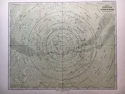 Lg Antique PERTHES 1872 Map of Southern Celestial Hemisphere Stars Heavens MAP