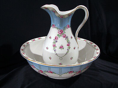Whieldon Ware Pitcher & Bowl - Roses Rosalind Pattern - Winkle & Co. - England