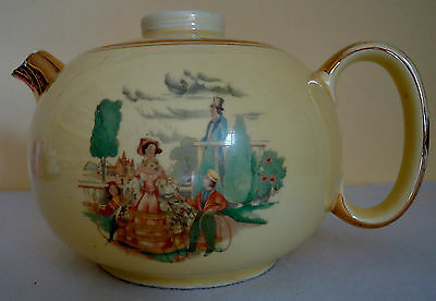 W. S. George Ranchero Style Yellow Teapot With Victorian Theme  (Mw-100)