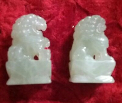 Antique/Vintage Pair Of Light Green Jade Chinese Foo Dogs
