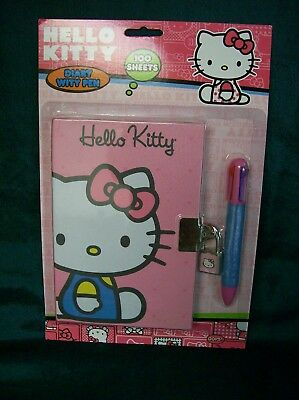 Sanrio Hello Kitty Diary w/ Lock, Pen, & 100 Sheets 2014 NIP 6 ""