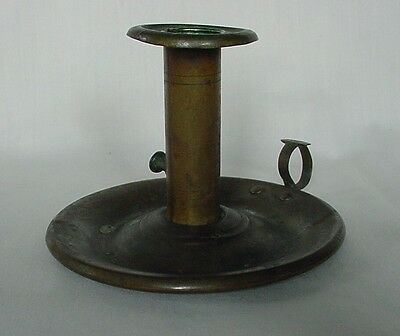 Antique Brass Candlestick With Drip Catcher & Finger Ring