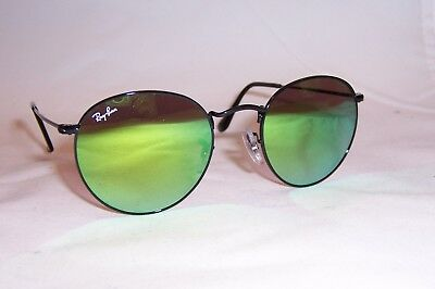 ef8748a527487 New RAY BAN ROUND METAL Sunglasses 3447 002 4J BLACK GREEN MIRROR 50mm  AUTHENTIC
