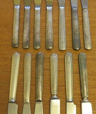 Antique Vintage Silverplate Knives Knife Flatware Silverware Crafts Lot 13 pc