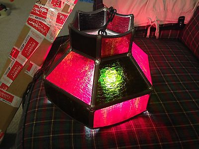 Leaded Shag Stained Glass Light Fixture Red Green