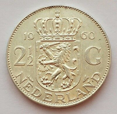 1960 Netherlands Uncirculated 2-1/2 Gulden Silver Coin