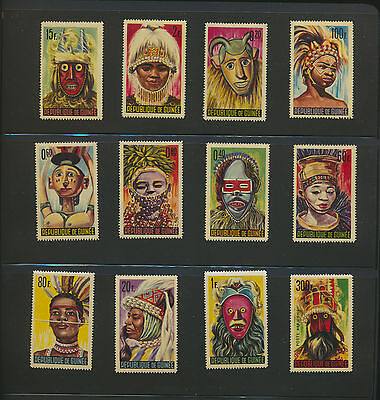 African Tribal Masks Complete Mint NH Topical Set Guinea #361-71,C68  $13.00 Val