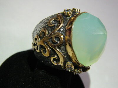 BORA HUGE Oxidized Chalcedony Sterling Copper Brutalist Mounting Dome RING *WOW*