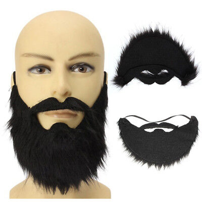 EP_ Fake Black Beard False Moustache Elasticated Halloween Party Prom Props Fash