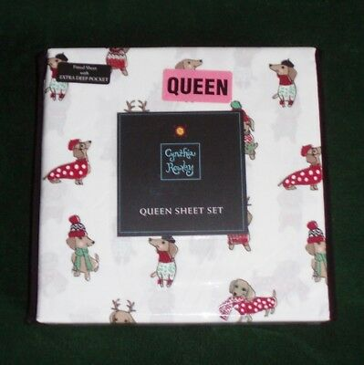 Microfiber Winter Dachshund Christmas Holiday Sheet Set - Queen