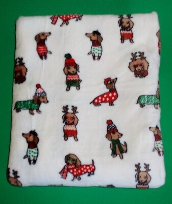 "White Velvety Soft Winter Dachshund Holiday Throw Blanket - 60"" x 70"""