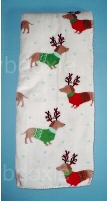 Super Soft Christmas Holiday Red Dachshund Dog Reindeer Throw Blanket
