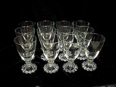 "12 Clear Footed Boopie Bubble 4 1/2"" Juice Wine Glasses Anchor Candlewick Style"