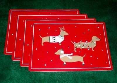 Set of 4 Red Dachshund Christmas Holiday Vinyl Placemats