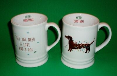 """Set of 2 """"All You Need Is Love & A Dog"""" & Dachshund Holiday Coffee Cups / Mugs"""