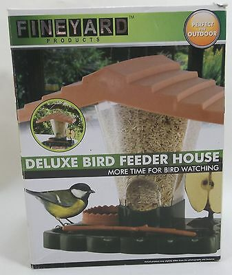 Deluxe Bird Feeder House Seed Feeder FINEYARD NEW Brown & Green NV-00475 Plastic