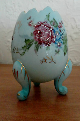 Vintage Blue Gold Floral Hand Painted Porcelain EGG Vase Planter Napco