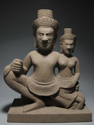 Sculpture Khmer Sandstone Shiva And Parvati Figure Stone Angkor Wat Style